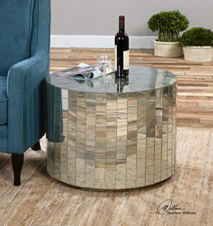 Round Mirrored Mosaic Coffee Table | Contemporary Round Furniture