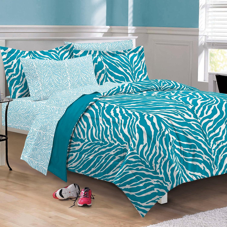 turquoise and white zebra bedding set