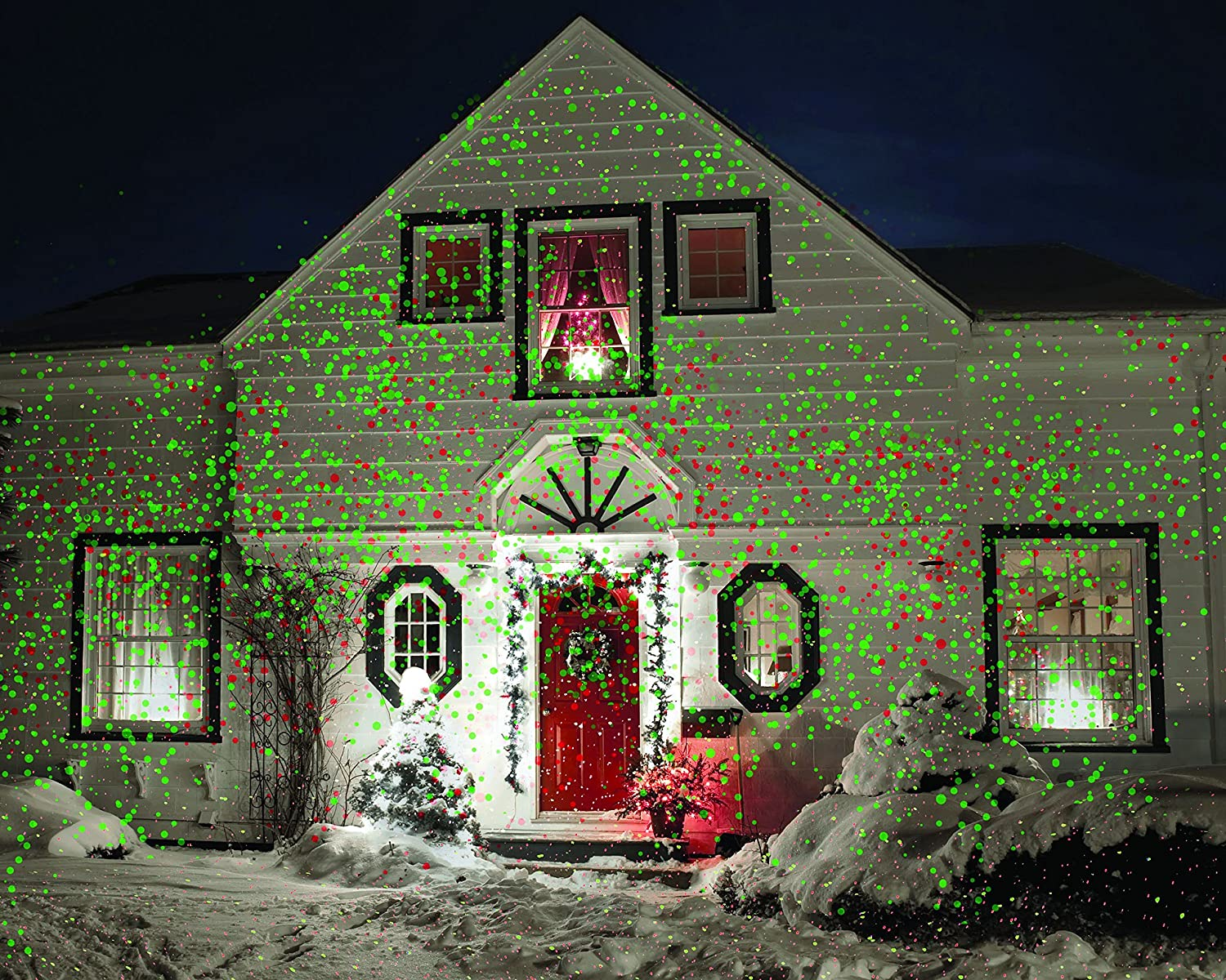 Christmas laser light projector red green landscape for Outdoor christmas