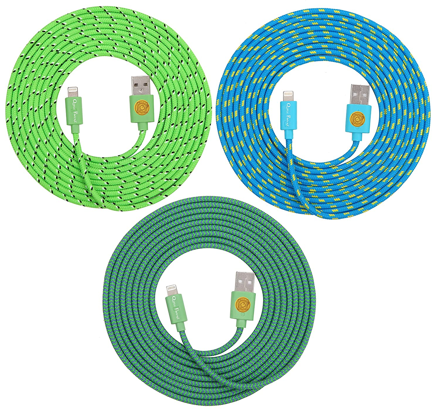 High Quality, 10ft(3m) Braided Nylon Lightning Charging Cables for Apple iPhone 5 5C 5S,iPhone 6, 6 Plus, iPad 4 Mini, iPod Touch 5/Nano 7, 8 pin to USB - 3pack (teal/green/blue)
