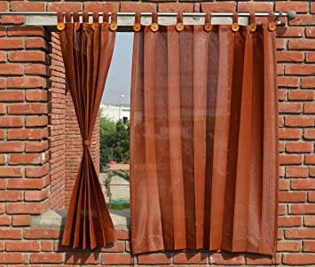 Buy HIPPO Outdoor Curtains - Brown Colour - Window Size (2 Nos. x ...