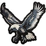 [Large Size] Papapatch Bald Eagle Hawk Falcon Bird Wings Biker Rider Motorcycle Jacket Vest Costume Embroidered Large Sew on Iron on Patch (IRON-BALD-EAGLE-LARGE)