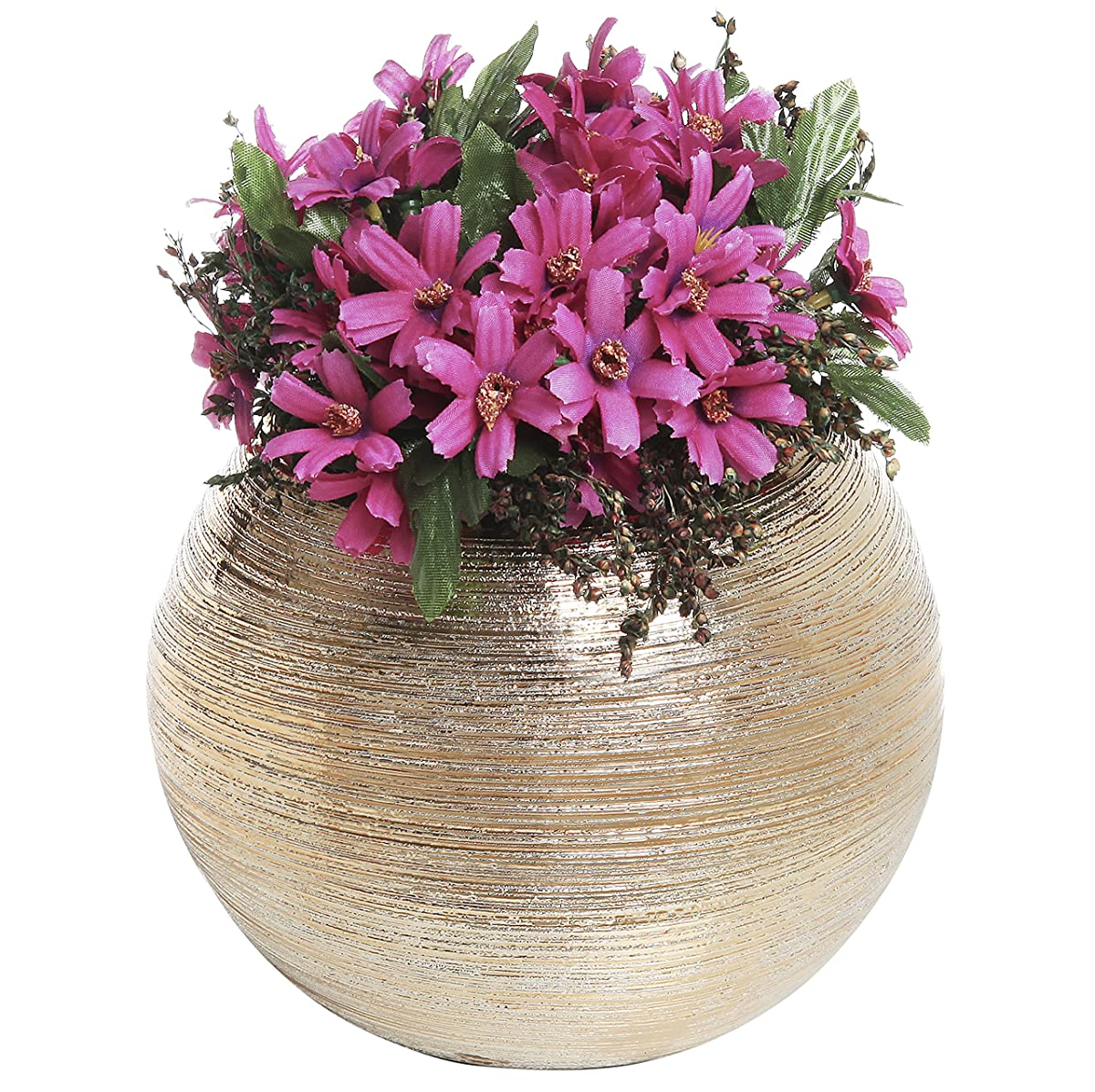 Round Modern Metallic Gold Tone Ridged Ceramic Plant Flower Planter Pot