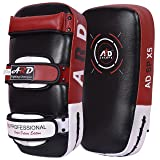 ARD Kick Boxing Strike Curved Thai Pad MMA Focus Muay Thai Punch Shield Mitt (1 Unit) (Red) (Color: Red)