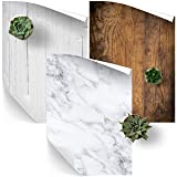Photography Backdrop 3-Pack for Product, Food & Flat Lay Photography - Natural Wood, White Wood & White Marble - 23 x 33 in Size Vinyl (Color: White)
