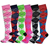 6 Pairs Women's Fancy Design Multi Colorful Patterned Knee High Socks,Argyle Design,Size 9-11 ( Fit women shoe size 4 to 10 )  (Color: Argyle Design, Tamaño: 9-11)