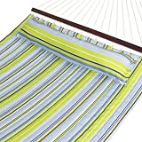 Best Choice Products Quilted Double Hammock w/Detachable Pillow, Spreader Bar- Blue/Green (Color: Blue/Green Stripe, Tamaño: 135