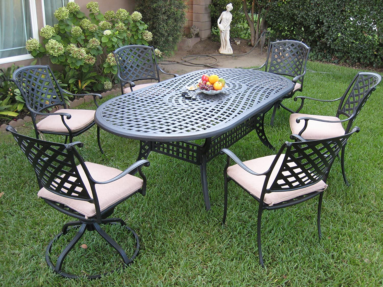 Outdoor Cast Aluminum Patio Furniture 7 Piece Dining Set With 2 Swivel Rockers