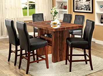 Furniture of America Kona 7-Piece Contemporary Pub Dining Set