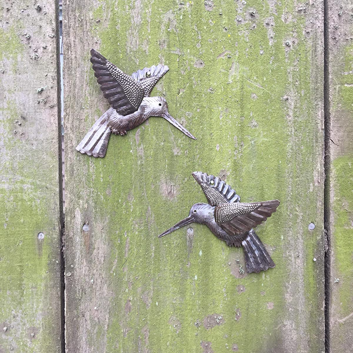 "Hummingbirds, Haitian Recycled Metal Drum Wall Art (set of 2) 6"" x 5.5"""