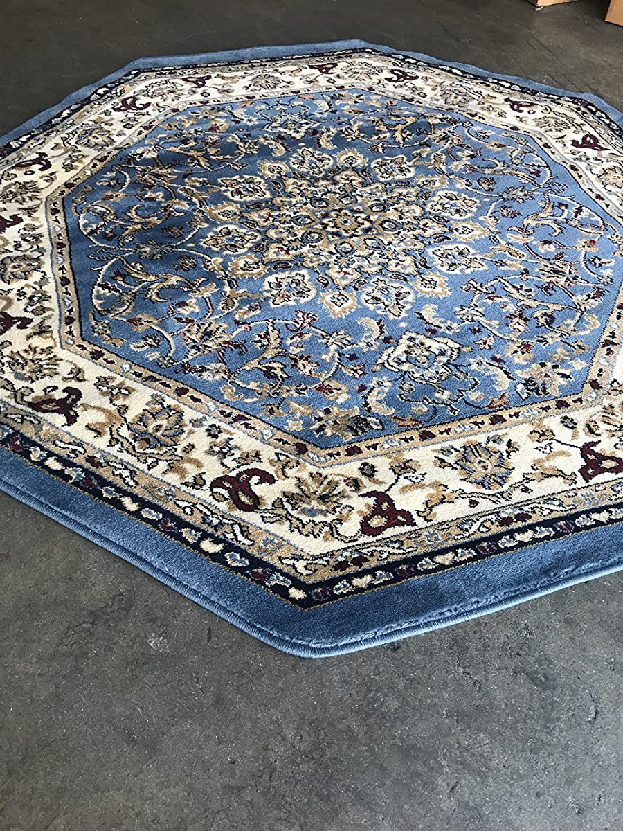 Traditional Octagon Persian 330,000 Point Oriental Area Rug Light Blue Deir Debwan Design 603 (4 Feet X 4 Feet )