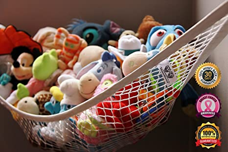 MiniOwls Storage Hammock - High Quality Toy Organizer - De-cluttering Solution for Your Kid's Room, Nursery, Playroom, Toy Room, Closet, Basement, Laundry Room and Mudroom - Inexpensive