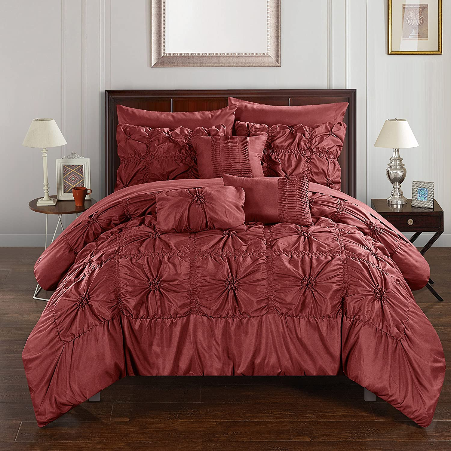 Upto 60% off On Global Savings By Amazon | Chic Home CS3589-AN 10 Piece Springfield Floral Pinch Pleat Ruffled Designer Embellished Bed In A Bag Comforter Set With Sheet Set, Queen, Brick Red @ Rs.13,514