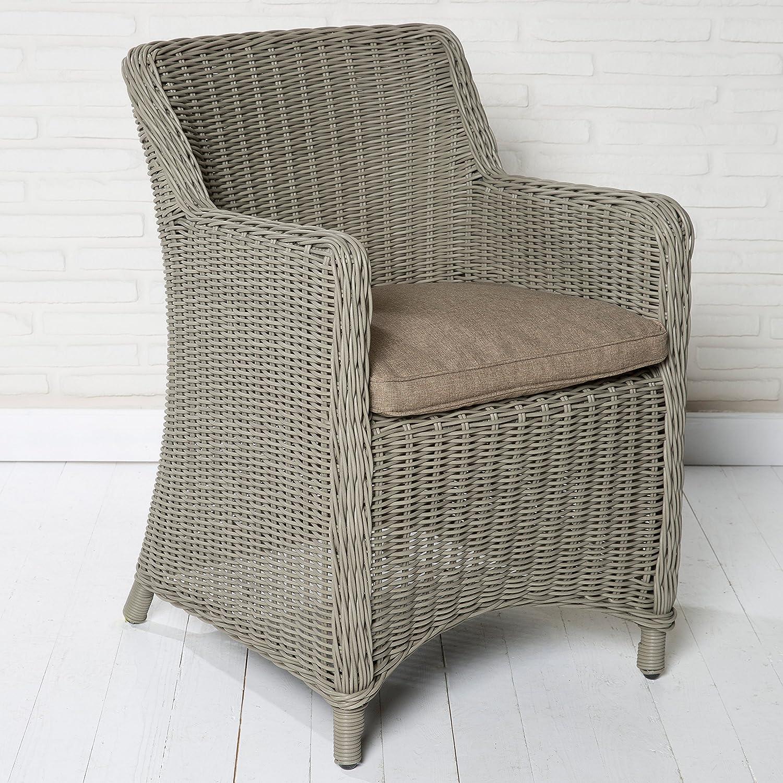 6er Set Gartenstühle Gartensessel taupe in Rattanoptik Gartenmöbel Kunststoff online bestellen
