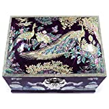 Jewelry Box Ring Organizer Mother of Pearl Inlay Mirror Lid 2 Level Peacock (Purple)