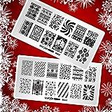 Whats Up Nails - Christmas New Year Winter Nail Stamping Plates (B003, B022) for Nail Art Design (Color: Silver plate, white backing, Tamaño: 2 Christmas Plates (B003, B022))