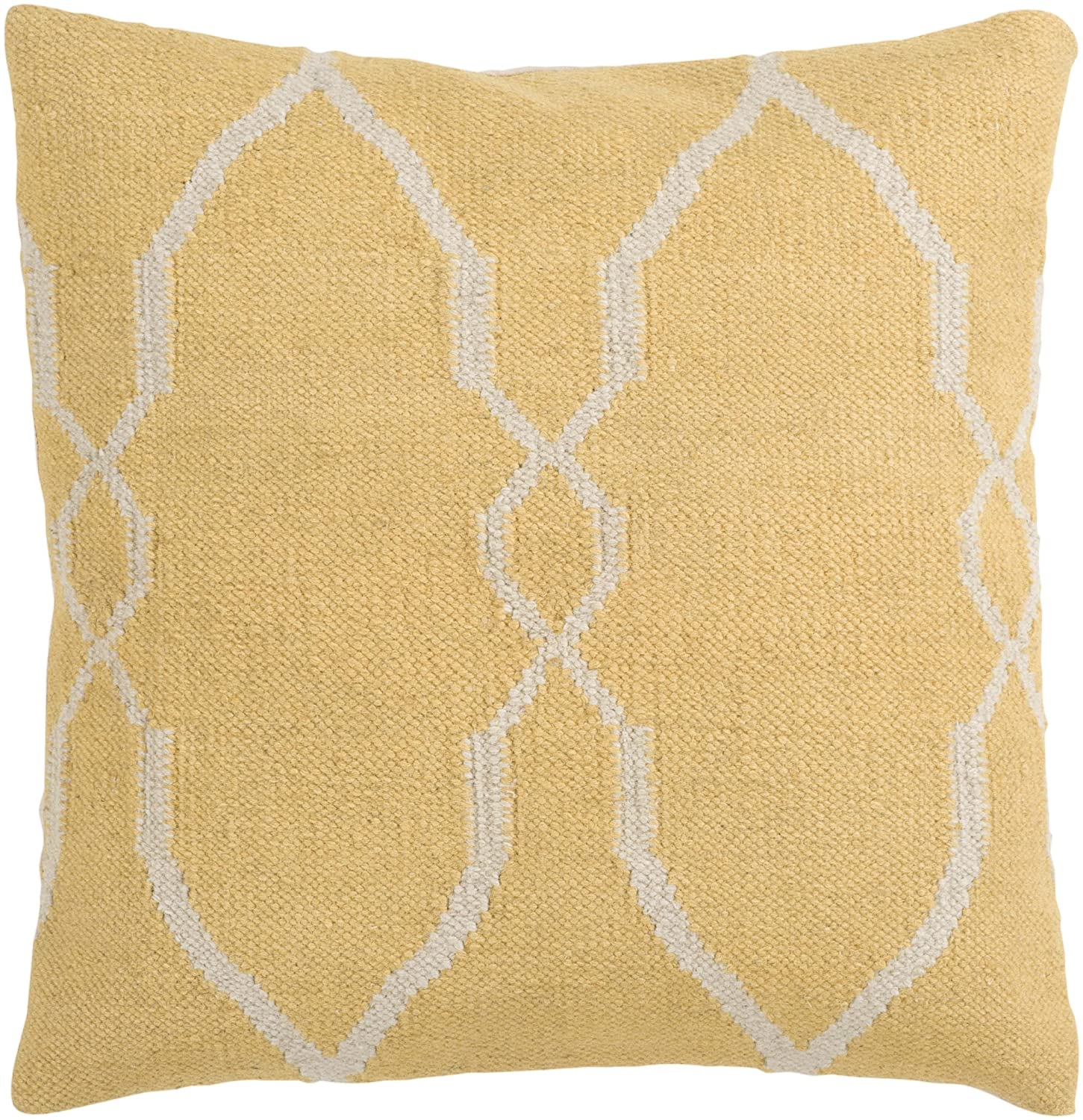 Surya FA-017 Hand Crafted 80% Wool / 20% Cotton Yellow 18 x 18 Geometric Decorative Pillow