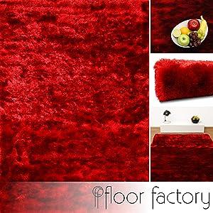 Alfombra de Pelo Largo Satin roja 10x10 cm muestra - Edición de Lujo   Comentarios y más información