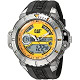 CAT WATCHES Men's 'Ana-Digi' Quartz Stainless Steel and Silicone Casual, Color:Black (Model: MA.155.21.731) (Color: Black/Orange)