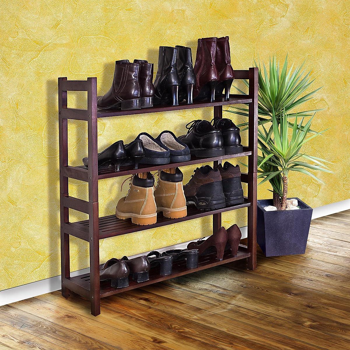 D Art Collection Veranda Shoe Rack With 4 Tier Shelf Dark