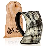 Original Viking Drinking Horn Cup Tankard By Thor Horn| Complete W/Authentic Medieval Burlap Gift Sack| Drink Beer Like A True Viking W/Our Horn Mug (Color: Black, brown, grey, Tamaño: Large)