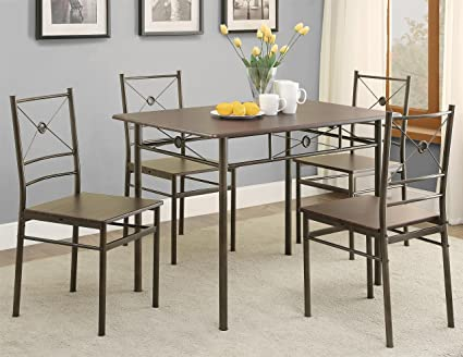 Coaster 100033 5 Piece Dining Table And Chairs Set Dark Bronze Finish