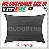 ColourTree 8' x 12' Black Sun Shade Sail Rectangle Canopy, UV Resistant Heavy Duty Commercial Grade,We Make Custom Size
