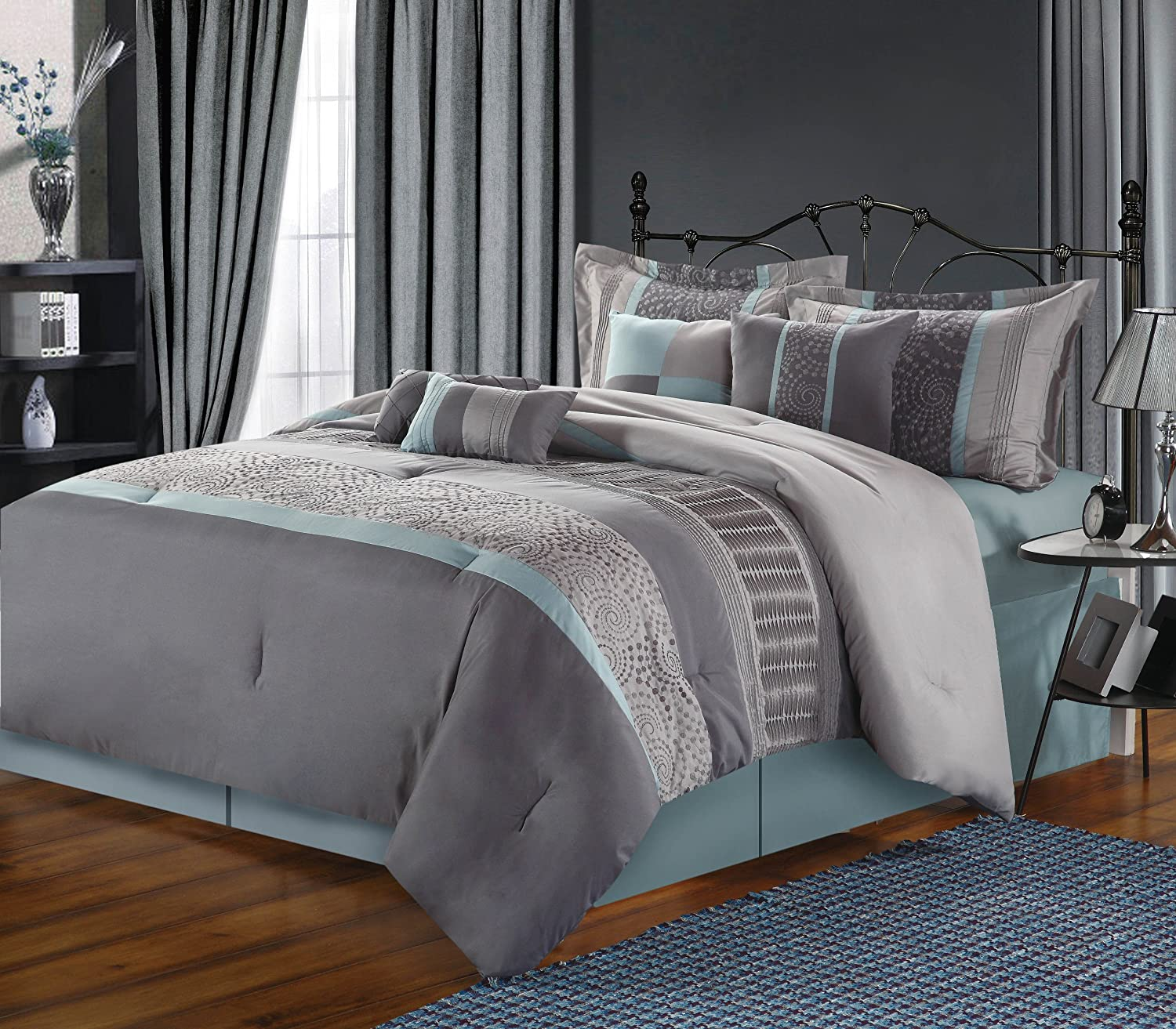 Gray bedding is lovely for Bedroom quilt ideas