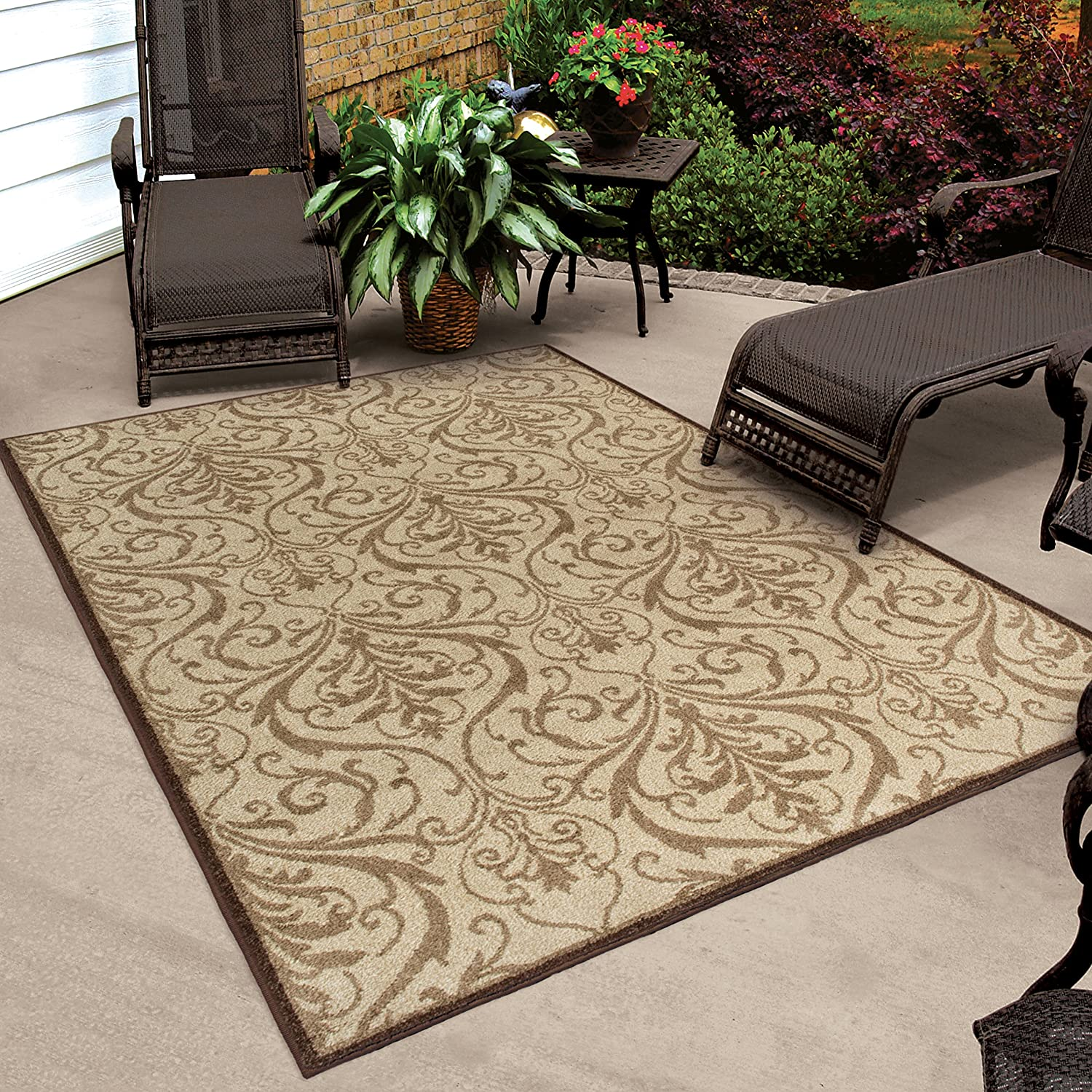 Indoor Outdoor Scroll Area Rug Carpet Large Mat Brown