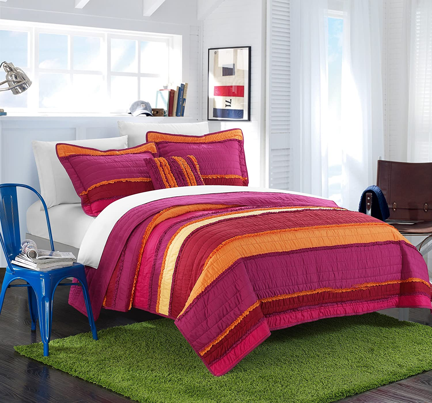 Chic Home 3 Piece Italica Ruffled & Rouched Details Pieced Multi Colored Global Design Quilt Set, Twin, Purple