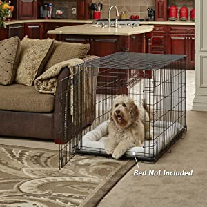 New World 42 Folding Metal Dog Crate, Includes Leak-Proof Plastic Tray; Dog Crate Measures 42L x 30W x 28H Inches, Fits Large Dog Breeds