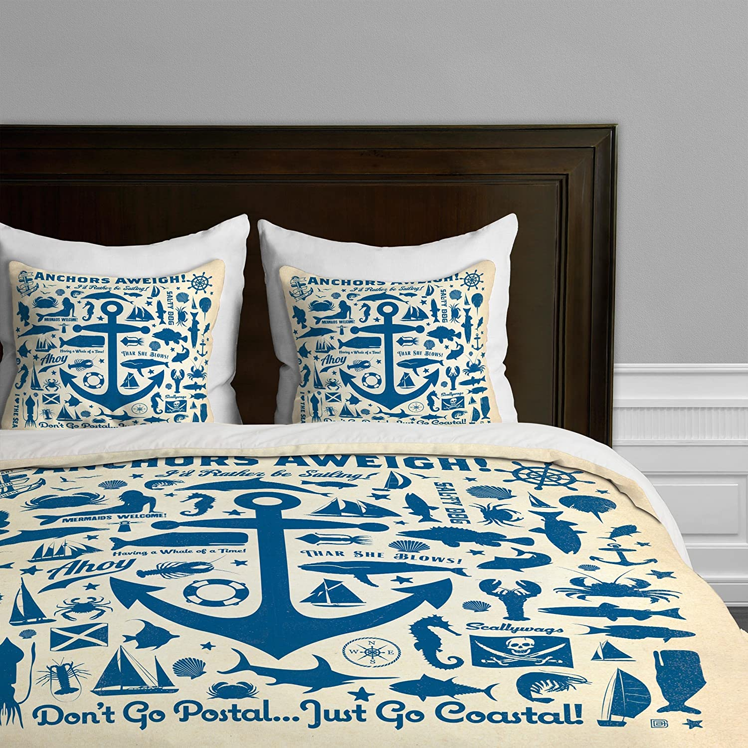 60 nautical bedding sets for nautical lovers deny designs anderson design group anchors away duvet cover queen gumiabroncs Images