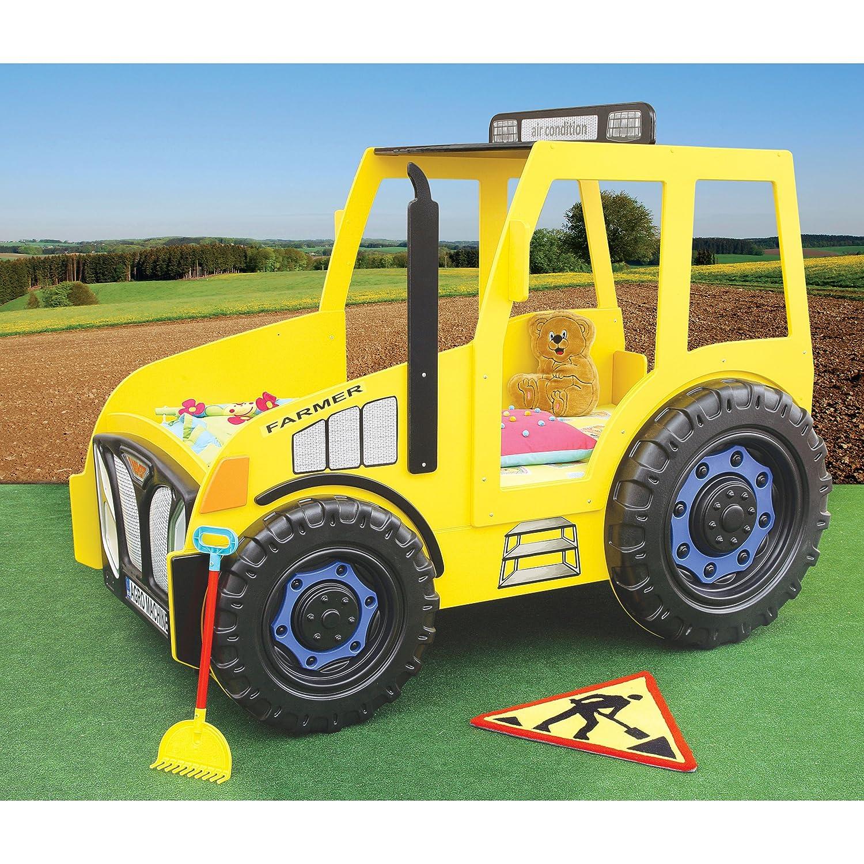 Kinder Bett Kinderbett mit Matratze Auto Traktor (gelb) günstig bestellen