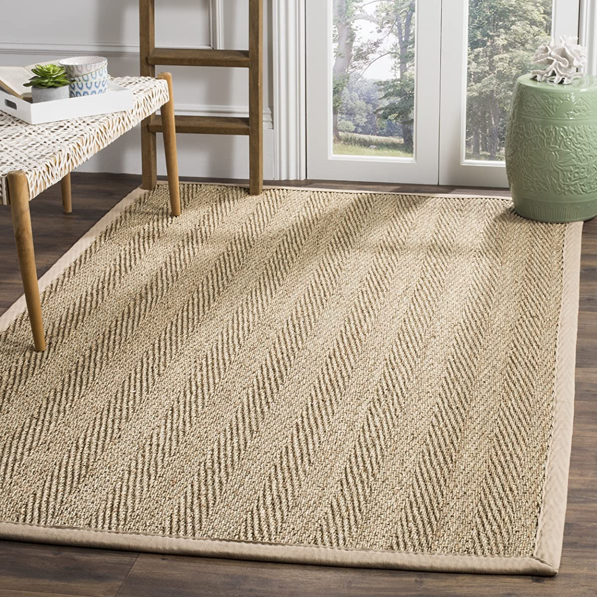 Safavieh Natural Fiber Collection NF115A Herringbone Natural and Beige Seagrass Area Rug (5 x 8)