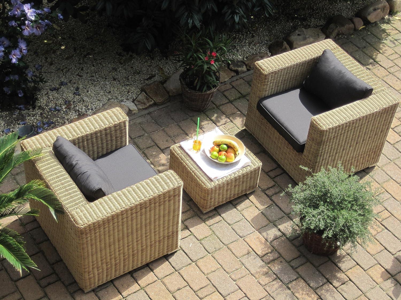 Lounge Wohnlandschaft 2 Sessel plus 1 Hocker Rattan Polyrattan Geflecht Gartenmöbel natur-beige-braun Provence online kaufen