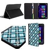 Designer Portfolio Case for Acer Switch V10 10.1 Inch Tablet Slim Leather Wallet Book Style Cover Case Credit Card Holder, Blue Checker (Color: blue)