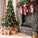 Christmas Backdrops for Photography for Children Christmas Tree & Three Gift Socks Hang Fireplace Photo Background 8x8 ft (250x250cm) (Color: christmas2, Tamaño: 8x8ft)