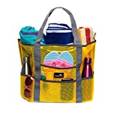 Dejaroo Mesh Beach Bag – Toy Tote Bag – Large Lightweight Market, Grocery & Picnic Tote with Oversized Pockets (Yellow with Grey Handles) (Color: Yellow with Grey Handles, Tamaño: Large)