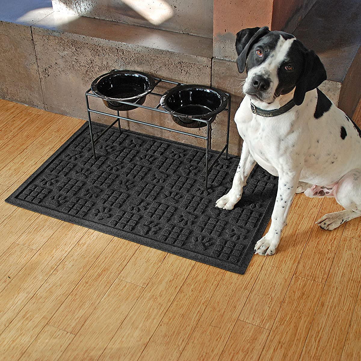 "Bungalow Flooring Waterhog ""Dog Paw"" Design Doormat, 2 x 3, Skid Resistant, Easy to Clean, Catches Water and Debris, Charcoal"