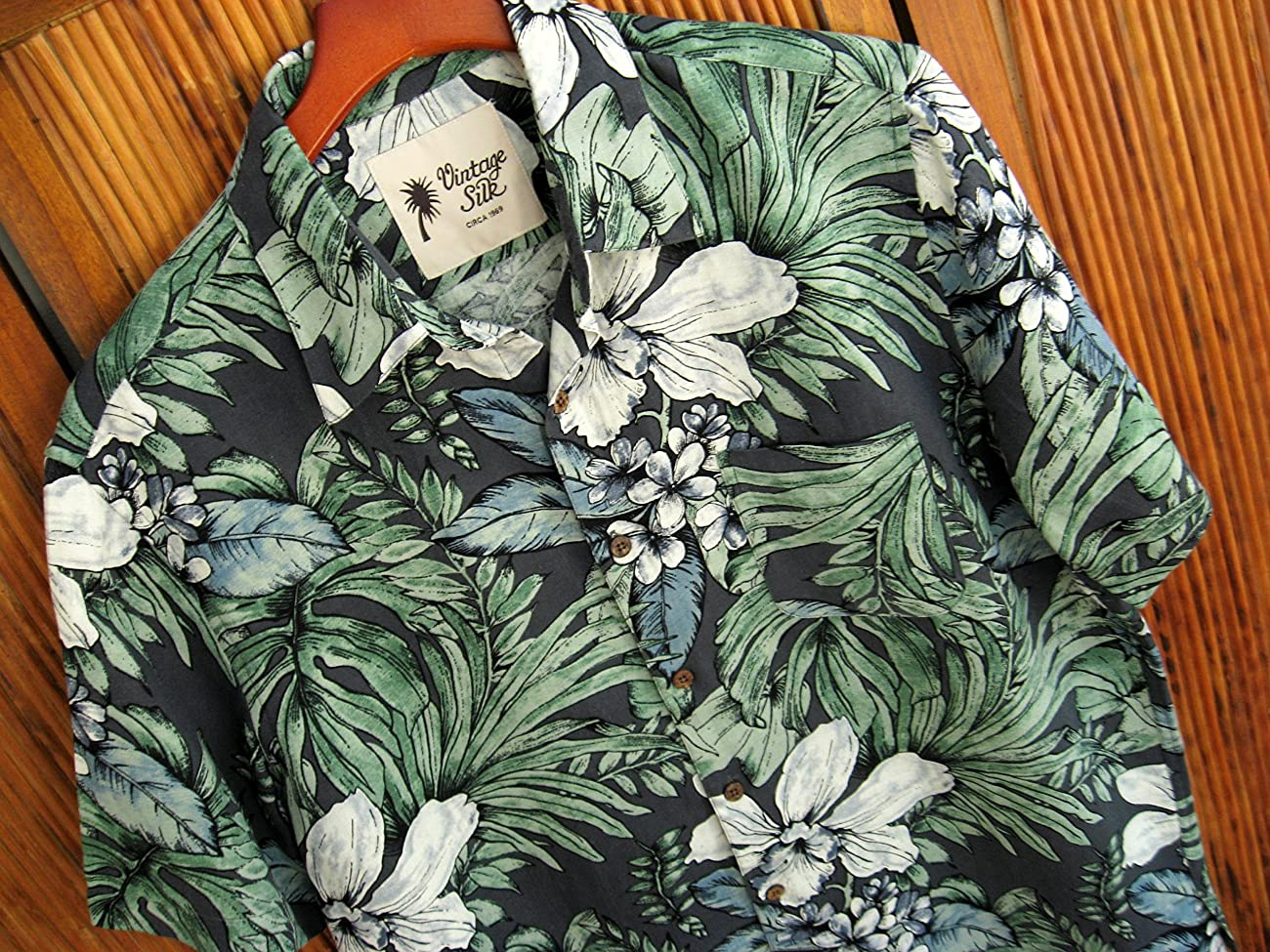 Mens Silk Camp Shirt Grey Hawaiian Cool Casual Floral Aloha 1
