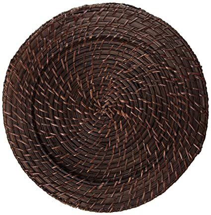 Round Brick Brown Rattan 4-Piece Charger Set by Jay Import