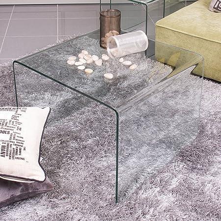 Homely - Mesa auxiliar de rincón de cristal curvado y templado Murano