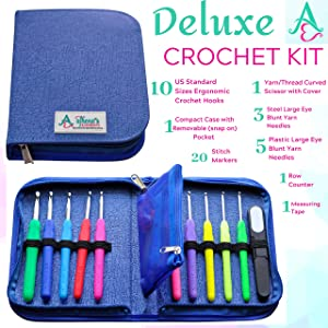 Crochet Kit for Serious Crocheters -10 Ergonomic Cushioned Crochet Hooks for Extreme Comfort, Hook Case with Removable Pocket and Accessories - Longer, Smooth Hooks - Sturdy and Non-Slip Handle (Color: Navy Blue)