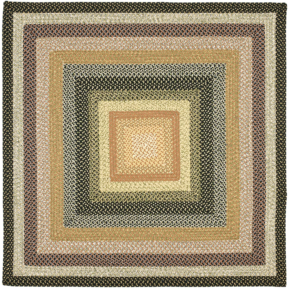 Safavieh Braided Collection BRD308A Hand Woven Blue and Multi Square Area Rug (4 Square)