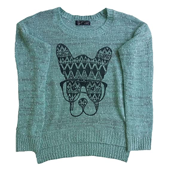 Almost Famous Junior Girls Boxer Dog Print Sweater