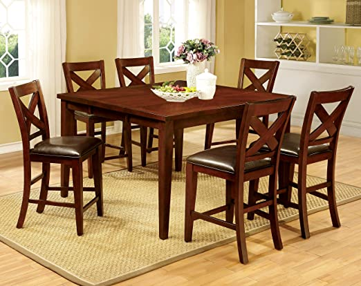Furniture of America Gillies 7-Piece Transitional Pub Dining Set