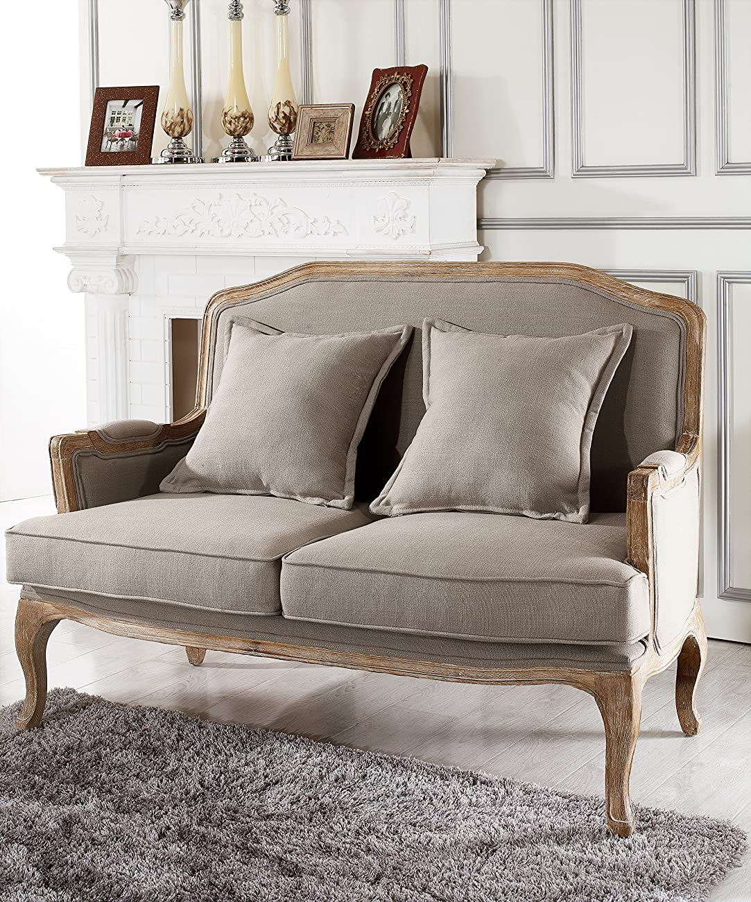 Baxton Studio Constanza Classic Antiqued French Loveseat 4