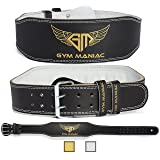 Gym Maniac Weight Lifting Waist Gym Belt | Adjustable Size, 2 Prong Buckle, Comfy Suede, Reinforced Stitching | Support Your Back & Alleviate Pains | For CrossFit, Squats, Bench Press, Fitness & More (Color: Gold, Tamaño: Medium)
