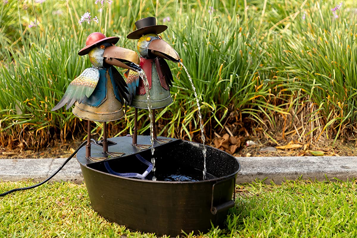 Alpine NCY298 Metal Two Birds on a Tin Floor Fountain, 20 Inch Tall, Multi Color