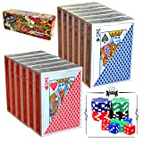 12 Decks Poker Size, Regular Index Playing Cards (6 Red/6 Blue) with Poker Chips and Dice